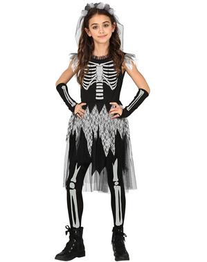 Déguisement squelette fiancée pour fille