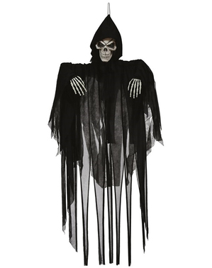 Skelett Hänge-Figur mit Licht und Bewegung 120 cm