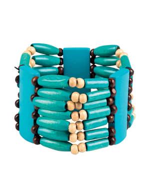 Armband indiaans in blauwe kleur voor volwassenen