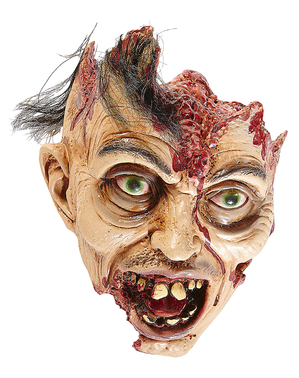 Decorative Zombie Head with Hair