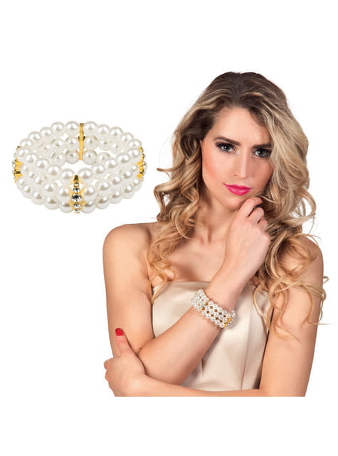 Pulsera de perlas blancas para mujer - para tu disfraz