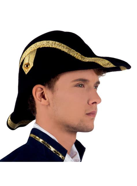 Sombrero de almirante de época para hombre