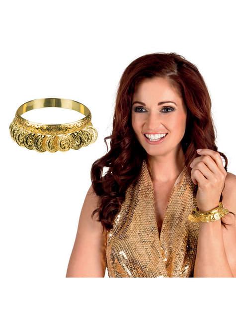 Pulseira dourada com moedas para adulto