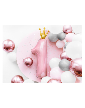 Balão de foil de primeiro aniversário rosa