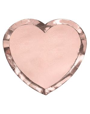 6 pratos de coração ouro rosa (21x19cm)