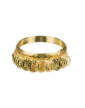 Bracciale dorato monete per adulto
