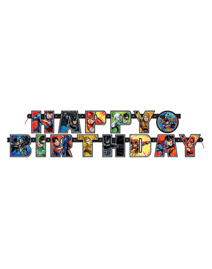 """""""Happy Birthday"""" Justice League Banner (2m)"""
