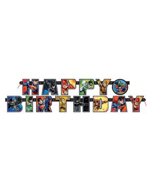 """Transparent """"Happy Birthday"""" Liga spravedlnosti (2 m)"""