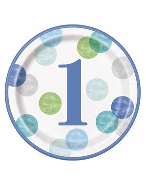 Niebieskie Talerze Roczek x8 (23cm) - Blue Dots 1st Birthday