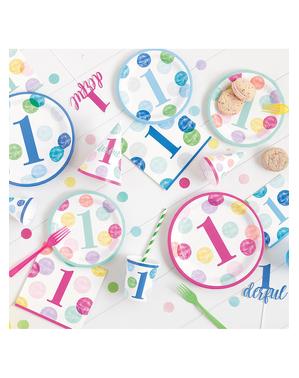 8 platos azules de primer cumpleaños (23 cm) - Blue Dots 1st Birthday