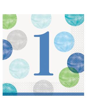 Niebieskie Serwetki Roczek x16 (33x33cm) - Blue Dots 1st Birthday