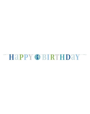 Niebieska Girlanda Roczek - Blue Dots 1st Birthday