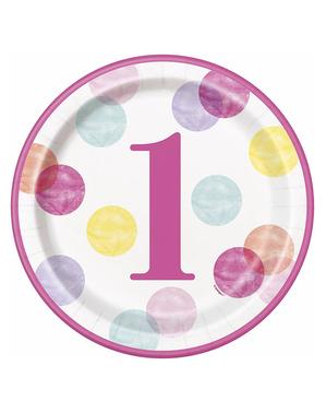 8 platos rosas de primer cumpleaños (23 cm) - Pink Dots 1st Birthday