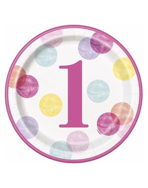 Różowe Talerze Roczek x8 (23cm) - Pink Dots 1st Birthday