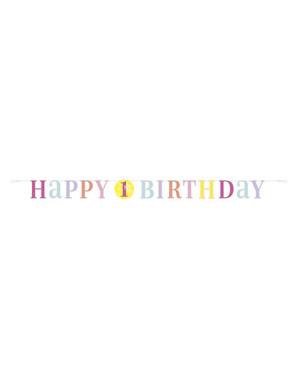 Różowa Girlanda Roczek - Pink Dots 1st Birthday