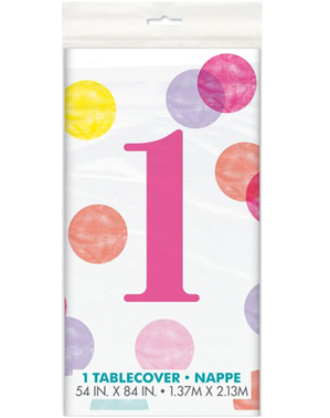 Ensimmäisen Syntymäpäivän vaaleanpunainen pöytäliina - Pink Dots 1st Birthday