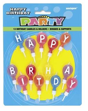 "13 ""Happy Birthday"" Multicolour Candles"