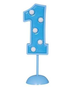 Numero 1 sininen koristekynttilä