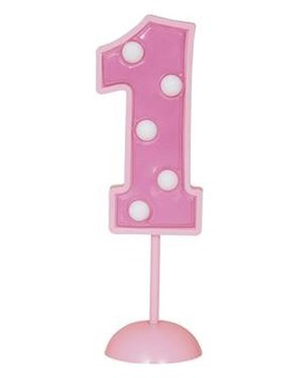 Nummer 1 rosa dekorativt lys