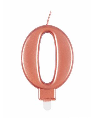 Vela de cumpleaños oro rosa número 0