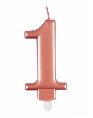 Ruusukultainen syntymäpäiväkynttilä numero 1
