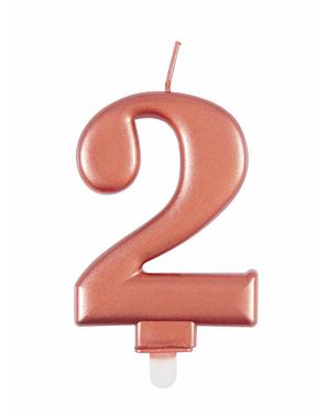 Vela de cumpleaños oro rosa número 2