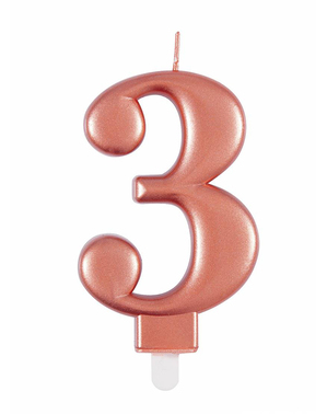 Vela de cumpleaños oro rosa número 3
