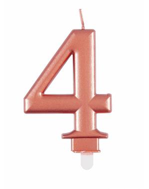 Vela de cumpleaños oro rosa número 4
