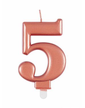 Vela de cumpleaños oro rosa número 5