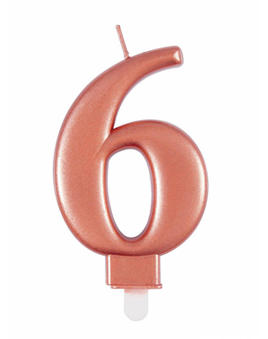 Rose Gold Birthday Candle Number 6