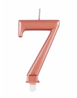 Vela de cumpleaños oro rosa número 7