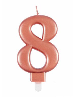 Vela de cumpleaños oro rosa número 8