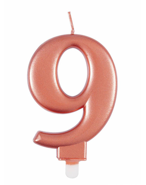 Vela de cumpleaños oro rosa número 9