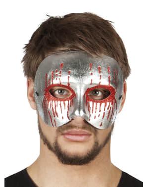 Meia máscara prateada com sangue para adulto
