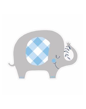 8 Blue Elephant Baby Shower Invitations - Blue Floral Elephant