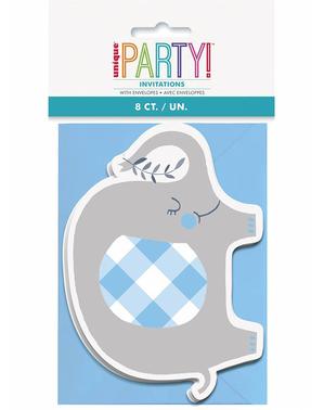 8 blå elefant baby shower invitasjoner - Blue Floral Elephant