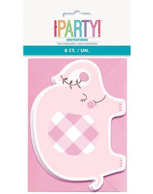 8 rosa elefant baby shower invitasjoner - Pink Floral Elephant