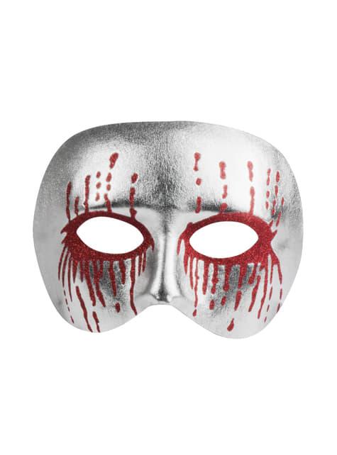 Media máscara plateada ensangrentada para adulto - para tu disfraz