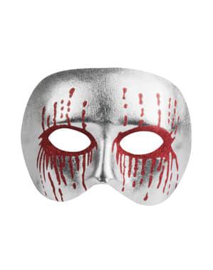 Mezza maschera argentata insanguinata per adulto