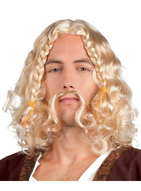 Peluca y bigote vikinga rubia para hombre