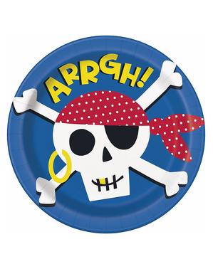 8 Pirattallerkener (23 cm) - Ahoy Pirate