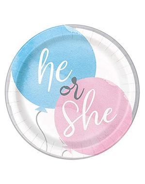 8 han eller hun tallerkener (23 cm) - Gender Reveal Party