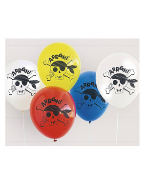 8 Pirate Latex Balloons (31 cm) - Ahoy Pirate