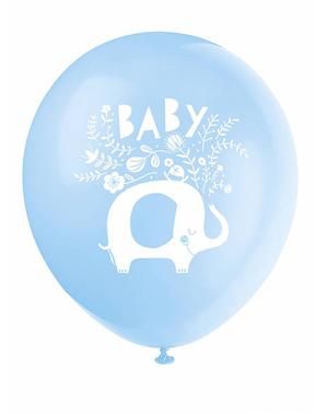 8 Blue Elephant Baby Shower Latex Balloon (32 cm) - Blue Floral Elephant