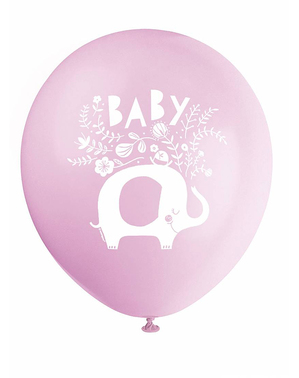 8 Pink Elephant Baby Shower Latex Balloons (32 cm) - Pink Floral Elephant