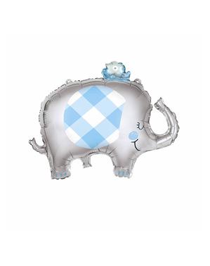 Blå elefant baby shower folieballong (74 cm) - Blue Elephant Giant