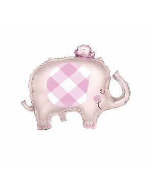 Rosa elefant baby shower folieballong (74 cm) - Pink Floral Elephant