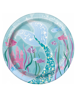8 pientä merenneitolautasta (18 cm) - Mermaid Under The Sea