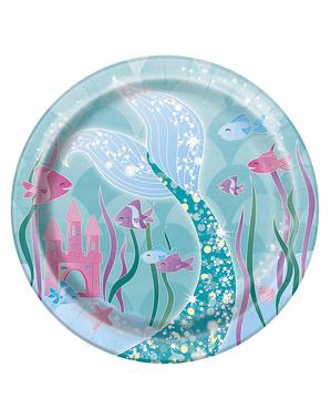 8 Small Mermaid Plates (18 cm) - Mermaid Under The Sea