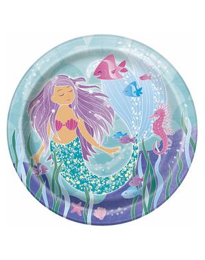 8 platos de sirenas (23 cm) - Sirena bajo del mar